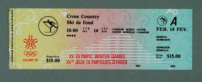 Ticket - Cross Contry, 14 February 1988, Calgary Winter Olympic Games