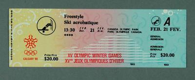 Ticket - Freestyle Ski Acrobatique, 21 February 1988, Calgary Winter Olympic Games