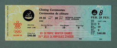 Ticket - Closing Ceremonies, 28 February 1988, Calgary Winter Olympic Games