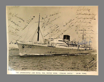 Photograph of RMV Stirling Castle, autographed by 1946 English XI