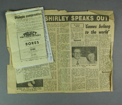 Newspaper clippings and notes, related to 1980 Olympic Games controversies
