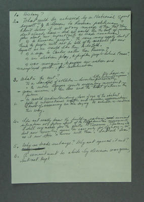 Handwritten notes discussing possible Olympic Games boycott, 1980