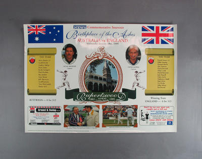 Poster, Birthplace of the Ashes Australia v England cricket match - 18 Jan 1995