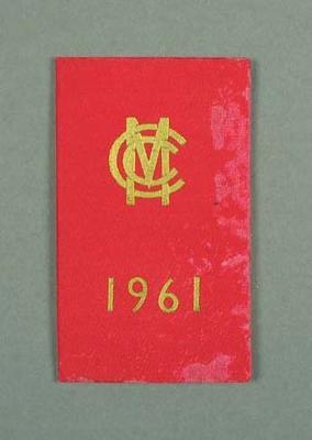 Marylebone Cricket Club - Peter Burge Honorary membership for 1961