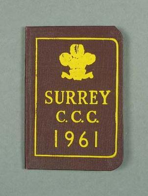 Surrey County Cricket Club  - Peter Burge Visitor membership for 1961