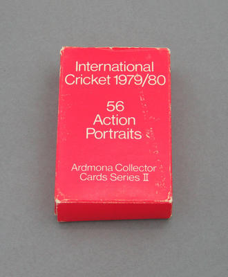Storage box, Ardmona Collector Cards Series II International Cricket 1979/80 trade cards