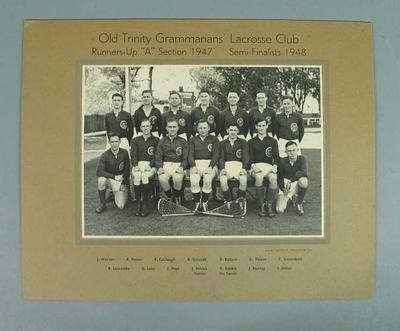 Photograph - Old Trinity Grammarians' Lacrosse Club 1947-48; Photography; 1987.1743.1