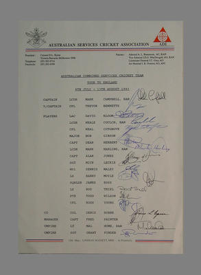 Australian Combined Services England Tour 1993 Players List with signatures.