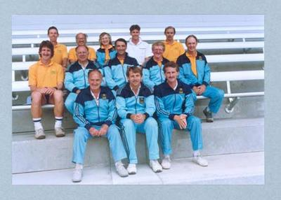 Photograph of Shirley Strickland with a group, all dressed in tracksuits, undated