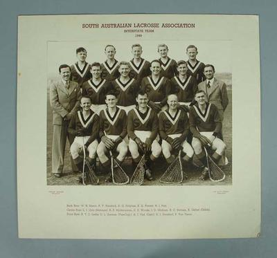 Photograph - South Australian Lacrosse Interstate Team 1949; Photography; 1987.1743.4