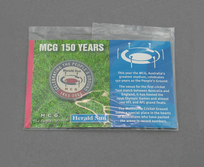 Commemorative medallion, MCG 150 Years; Trophies and awards; M12799