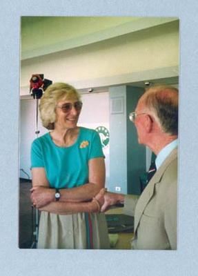 Photograph of Shirley Strickland at an AGOS function, undated