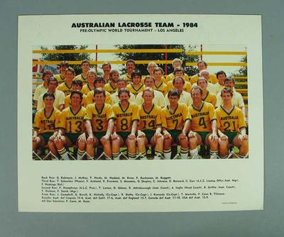 Colour photograph - Australian Lacrosse Team 1984 in  Los Angeles