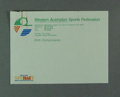Compliments slip, Western Australian Sports Federation