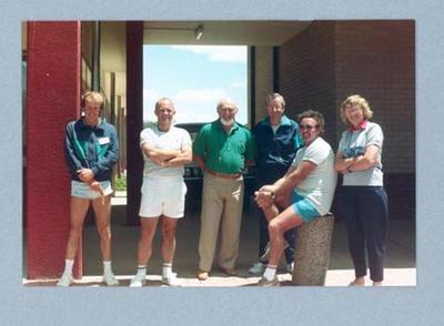 Photograph of Shirley Strickland with a group, c1989
