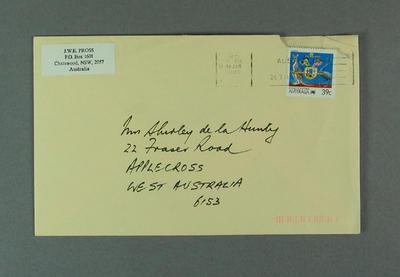 Envelope addressed to Shirley Strickland from Jack Pross, 19 Jan 1989