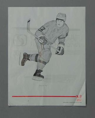 Poster of print 'Practice Run' - Ice Hockey, artist Suzanne Rose, 1988 Winter Olympic Games; Documents and books; 2004.4140.41