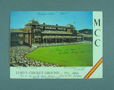 Print: Lord's Cricket Ground - England V Australia June 1961 - with annotations
