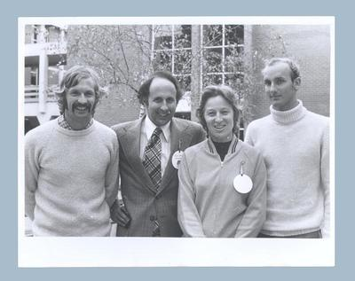 Photograph of Shirley Strickland & John Landy with two young men, undated