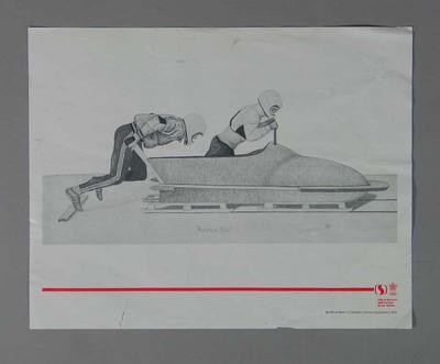 Poster of print 'Practice Run' - Bobsleigh, artist Suzanne Rose, 1988 Winter Olympic Games; Documents and books; 2004.4140.37