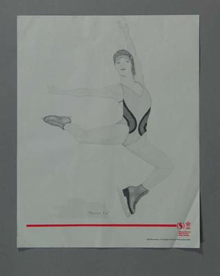 Poster of print 'Practice Run' - Ice Skating, artist Suzanne Rose, 1988 Winter Olympic Games; Documents and books; 2004.4140.38