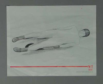 Poster of print 'Practice Run' - Luge, artist Suzanne Rose, 1988 Winter Olympic Games; Documents and books; 2004.4140.39