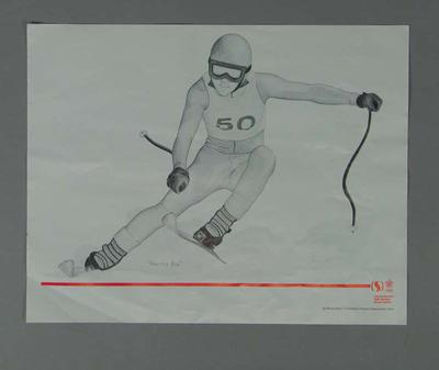 Poster of print 'Practice Run' - Skiing, artist Suzanne Rose, 1988 Winter Olympic Games