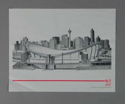 Poster of print 'Olympic Saddledome', artist Suzanne Rose, 1988 Winter Olympic Games; Documents and books; 2004.4140.42