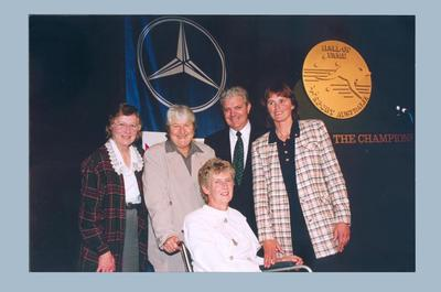 Photograph of Shirley Strickland, Dawn Fraser, Betty Cuthbert & Shane Gould at Sport Australia Hall of Fame induction, 10 Dec 1985; Photography; 2003.3903.1755.1