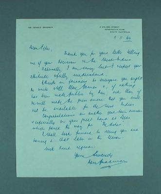 Handwritten letter from Sir Donald Bradman to Peter Burge, dated 9/11/64
