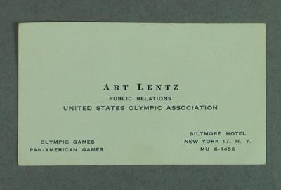 Business card for  Art Lents, Public Relations, United Sates Olympic Association; Documents and books; 2004.4123.84