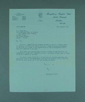 Letter dated10/1/72,  Marylebone Cricket Club offering Peter Burge Honorary Life Membership