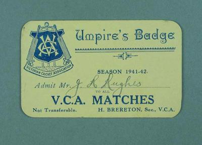 Victorian Cricket Association umpire's badge - season 1941/42