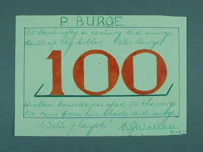 Poem titled 'P. Burge' re century at Headingly