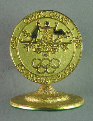 Trophy, acknowledging support of 1984 Australian Olympic Games Team