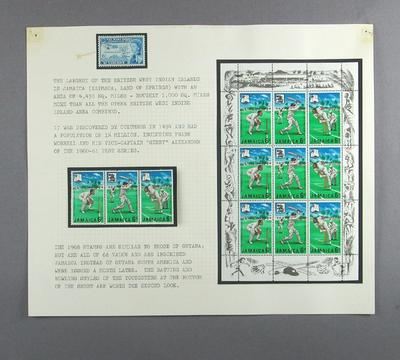 Stamps issued by St Vincent and Jamaica, commemorating West Indies Federation and an English cricket tour