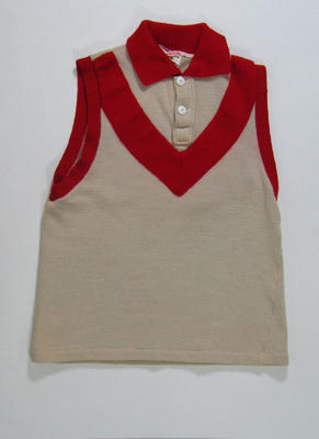 White sleeveless jumper with red collar worn by Robert Skilton, South Melbourne Football Club; Clothing or accessories; 1990.2305