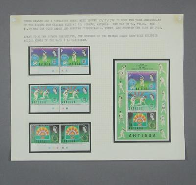 Stamps issued by Antigua, cricket related