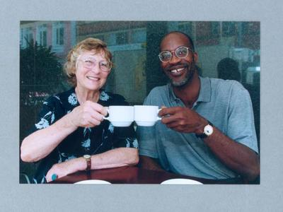 Photograph of Shirley Strickland with Edwin Moses, 1999