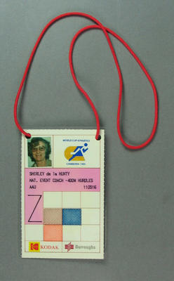 Identification card, issued to Shirley Strickland for World Cup Athletics 1985