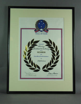 Sport Australia Hall of Fame certificate of induction, presented to Shirley Strickland