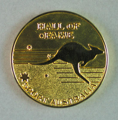 Sport Australia Hall of Fame medallion, presented to Shirley Strickland