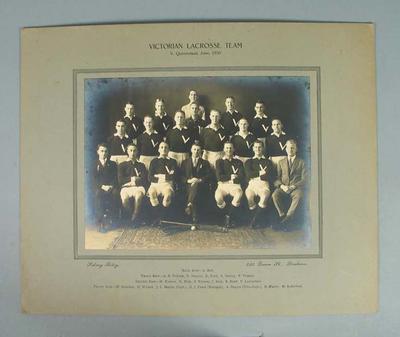 Photograph of Victorian Lacrosse team, June 1930
