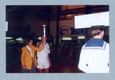 Photograph of Shirley Strickland participating in 1996 Olympic Games Torch Relay