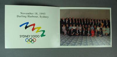 Photograph, Sydney 2000 Olympic Games Victory Celebration Dinner 18 Nov 1993