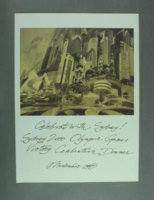 Print, Celebrate with Sydney! dinner 18 November 1993; Artwork; 2003.3903.1821.1