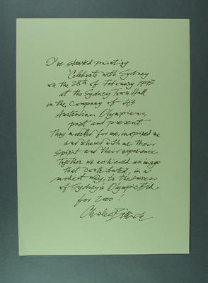 Artist's statement, Celebrate with Sydney! print; Documents and books; 2003.3903.1821.2