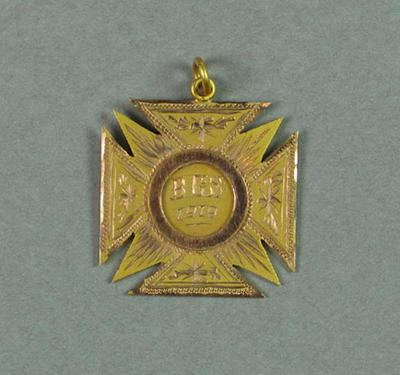 Medal won by R C Esler, Brighton Grammar School under 16 880 yards race - 1919, first place
