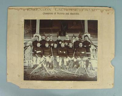 Photograph of Victorian lacrosse team, circa early twentieth century; Photography; 1987.1857.1