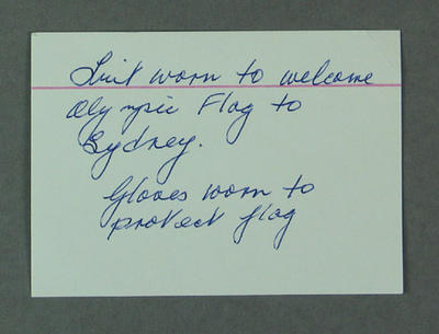 Note accompanying outfit worn by Shirley Strickland whilst carrying Olympic flag, Sydney 2000